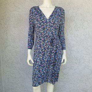 LOFT Navy Blue Long Sleeve Floral Wrap Dress NWT